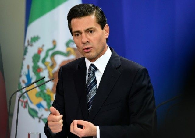 Mexican President Enrique Pena Nieto, pictured at a news conference following talks with German Chancellor Angela Merkel in Berlin on April 12, 2016