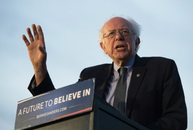 Democratic presidential candidate Bernie Sanders speaks to a crowd gathered on April 18, 2016 in New York