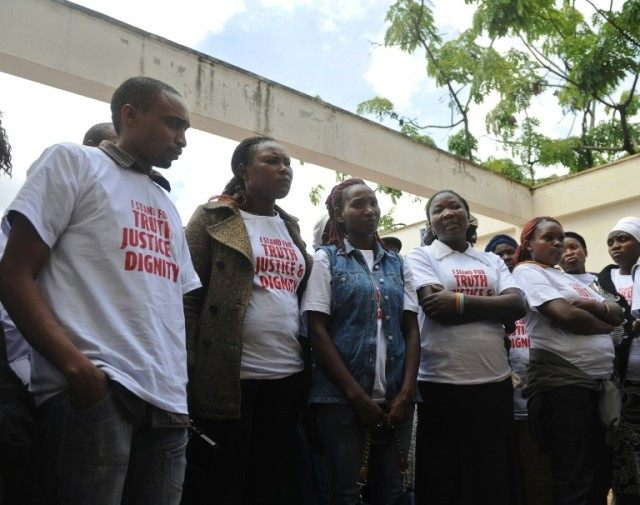 Victims of sexual violence outside the High Court on April 13, 2016 in Nairobi, Kenya prior to attending their trial to compel the government to address post-election violence in 2007-08