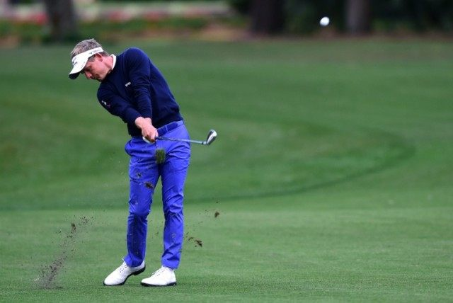 Luke Donald of England plays his second shot on the first hole during the 2016 RBC Heritage on April 14, 2016 in Hilton Head Island, South Carolina