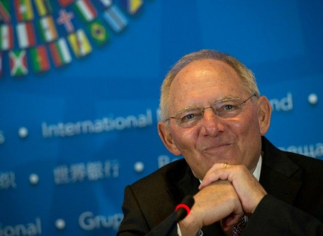 German Finance Minister Wolfgang Schaeuble speaks during a press conference at the IMF and World Bank Group 2016 Spring Meetings on April 16, 2016 in Washington, DC