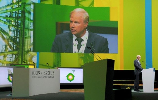 BP chief executive Bob Dudley speaks during the World Gas Conference in Paris, on June 2, 2015