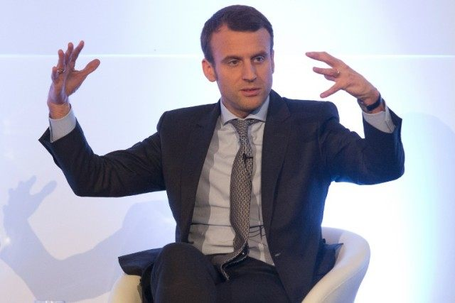 French Economy minister Emmanuel Macron speaks at a Future of Europe Summit in London on April 14, 2016