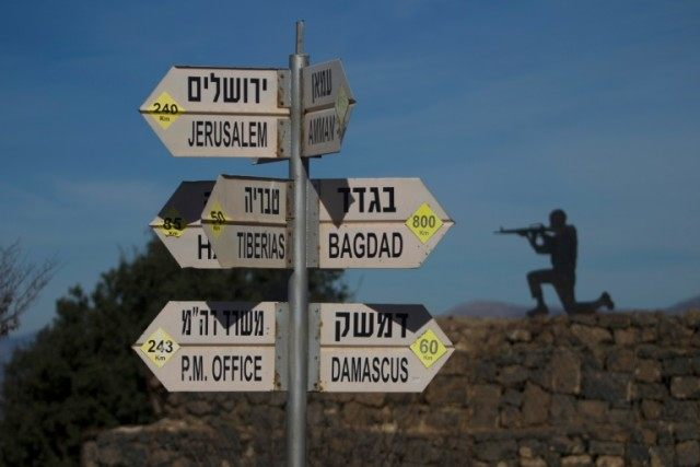 A sign shows the distance to Damascus and Baghdad at an army post on Mount Bental in the Israeli-annexed Golan Heights