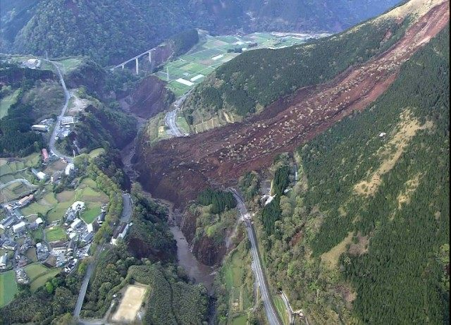 A landslide pictured in Mimami-Aso, Kumamoto prefecture on April 16, 2016 after a second powerful earthquake hit southern Japan