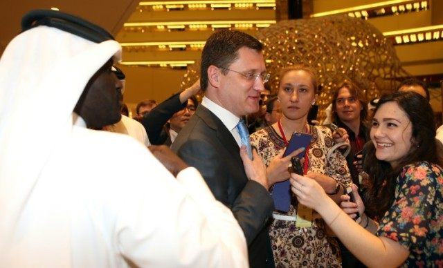 Russian Energy Minister Alexander Novak (C) arrives for the organization of Petroleum Exporting Countries (OPEC) meeting, in the Qatari capital Doha, on April 17, 2016