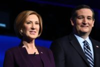 Republican presidential hopefuls Carly Fiorina (L) and Ted Cruz at the CNBC Republican Presidential Debateat the Coors Event Center at the University of Colorado in Boulder, Colorado on October 28, 2015
