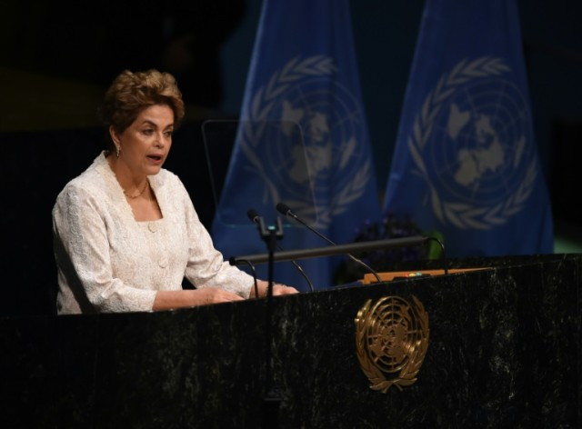 Brazilian President Dilma Rousseff speaks at the United Nations in New York on April 22, 2016