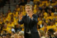 Golden State Warriors Head Coach Steve Kerr gives directions during the 2016 NBA Playoffs at ORACLE Arena on April 18, 2016 in Oakland, California