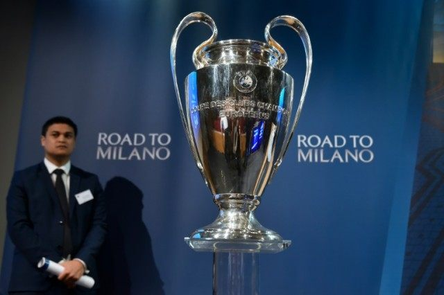 The UEFA Champions League trophy at the semi-final draw in Nyon, Switzerland, on April 15, 2016