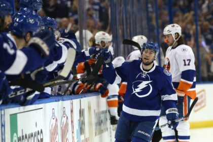 Tyler Johnson of the Tampa Bay Lightning celebrates his goal against the New York Islanders during game two of the Eastern Conference second round, on April 30, 2016 in Tampa