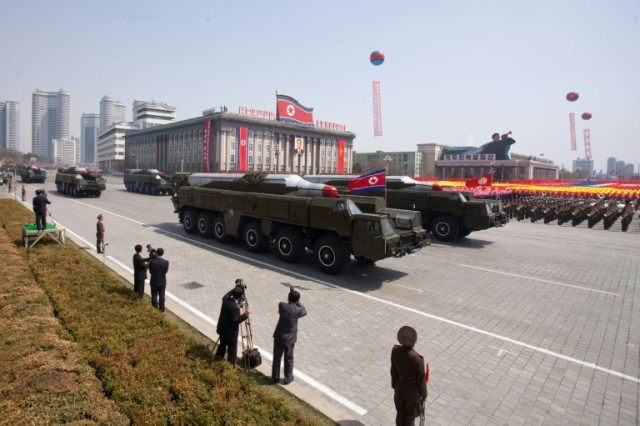 Musudan-class missiles are displayed during a military parade in Pyongyang