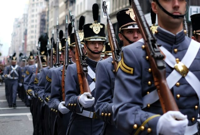 Cadets from the US Military Academy at West Point march during the Veterans Day Parade in New York on November 11, 2014