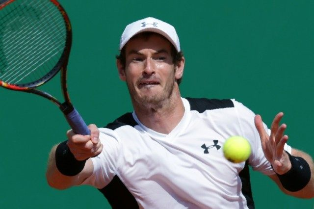 Britain's Andy Murray in action against Canada's Milos Raonic at the Monte Carlo Masters on April 15, 2016