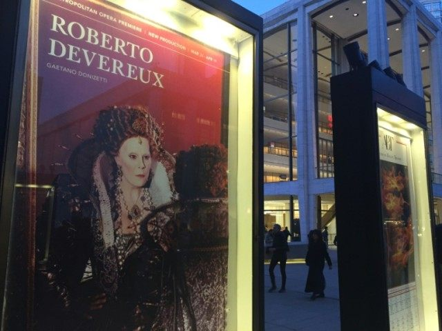 "A poster for the opera ""Roberto Devereux"" on April 14, 2016 outside the Metropolitan Opera in New York"