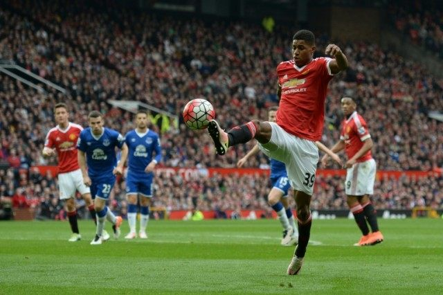 Manchester United's Marcus Rashford controls the ball during their English Premier League match against Everton, at Old Trafford in Manchester, on April 3, 2016