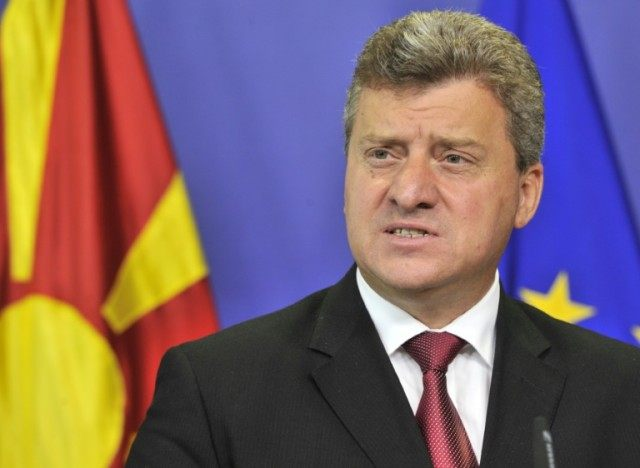 Macedonia President Gjorge Ivanov, pictured on September 4, 2012, put a halt to the judicial inquiry into a wiretapping scandal