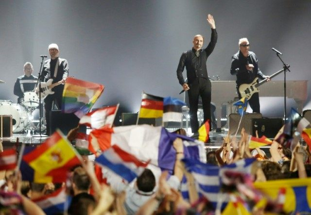 Romanian band Voltaj perform during the first semi-final of the Eurovision Song Contest (ESC) in Vienna on May 19, 2015