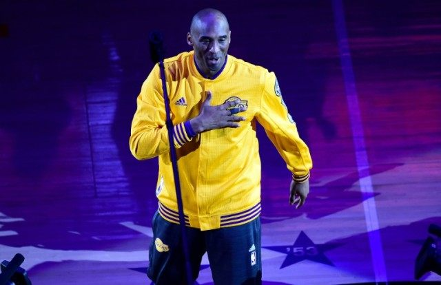 The Los Angeles Lakers' Kobe Bryant takes the court for the last time, for their season-ending NBA Western division matchup against the Utah Jazz, at Staples Center in Los Angeles, California, on April 13, 2016