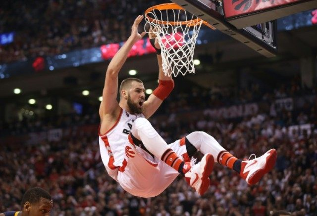 Jonas Valanciunas scored 23 points as the Toronto Raptors beat the Indiana Pacers 98-87 on Monday to square their best-of-seven series.