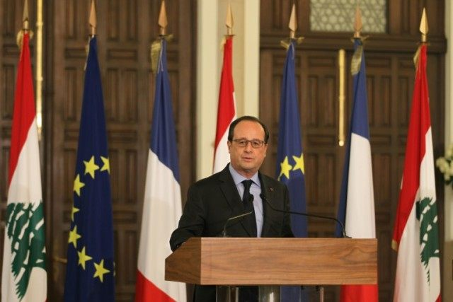 French President Francois Hollande speaks during a joint press conference with Lebanese PM after their meeting in Beirut on April 16, 2016