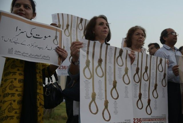 Activists from the Human Rights Commission of Pakistan (HRCP) demonstrate to mark International Day Against the Death Penalty, in Islamabad, in October 2015