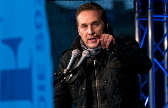 Head of the Austrian Freedom Party (FPOe) Heinz-Christian Strache speaks during a demonstration against a refugee home in Vienna, Austria on April 18, 2016
