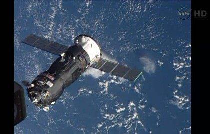 This October 29, 2014 image taken from NASA TV shows the Russian Progress 57 Cargo Ship arriving to dock with the International Space Station