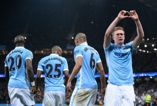 Manchester City midfielder Kevin De Bruyne (right) celebrates after scoring during the Champions league quarter-final second leg against Paris Saint-Germain on April 12, 2016