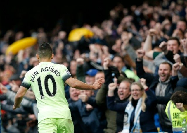 Manchester City's striker Sergio Aguero celebrates after scoring their second goal during the English Premier League match against Chelsea at Stamford Bridge in London on April 16, 2016