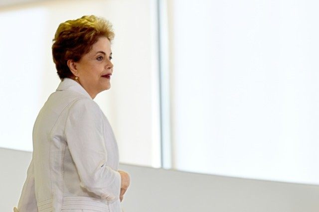 Brazilian President Dilma Rousseff at Planalto Palace in Brasilia, on April 12, 2016