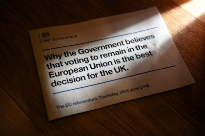 A leaflet stating the UK government's case for remaining in the European Union is seen in a household near Huddersfield, northern England on April 11, 2016