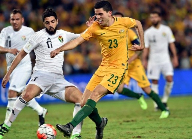 Tom Rogic (pictured, C, playing for Australia) blasted Celtic's decisive spot-kick over the bar to hand Rangers a 5-4 victory after Callum McGregor and Scott Brown had also missed