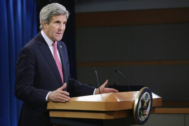 US Secretary of State John Kerry delivers remarks about the release of the 2015 Human Rights Report on April 13, 2016 in Washington, DC