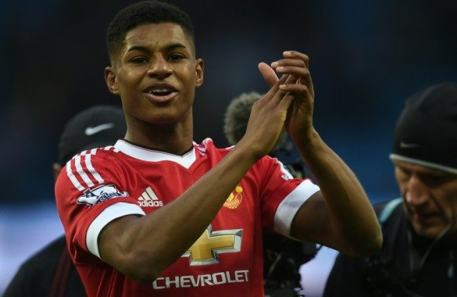 Manchester United's striker Marcus Rashford applauds at the Etihad Stadium on March 20, 2016