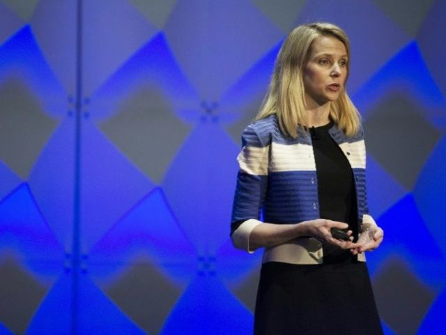 "Yahoo President and CEO Marissa Mayer, pictured on February 18, 2016, said the company has ""made substantial progress towards potential strategic alternatives"""