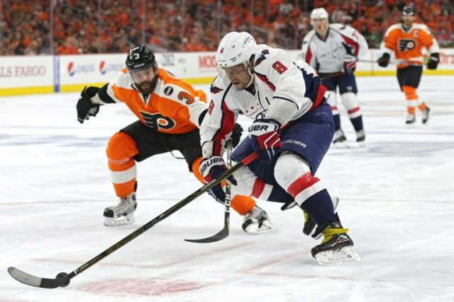 Alex Ovechkin #8 of the Washington Capitals skates past Radko Gudas #3 of the Philadelphia Flyers during Game Six of the Eastern Conference Quarterfinals during the 2016 NHL Stanley Cup Playoffs on April 24, 2016 in Philadelphia, Pennsylvania