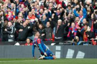 Crystal Palace's English striker Connor Wickham celebrates scoring their second goal during an FA Cup semi-final football match against Watford at Wembley Stadium in London on April 24, 2016
