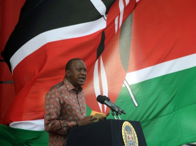Kenya's President Uhuru Kenyatta delivers a speech during an inter-religious event at the Afraha stadium in Nakuru on April 16, 2016