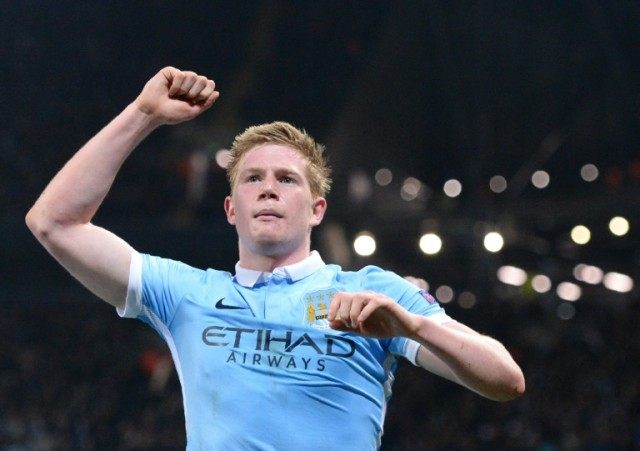 Manchester City's Kevin De Bruyne celebrates scoring the winning goal against Paris Saint-Germain to take his side into in the Champions League semi finals
