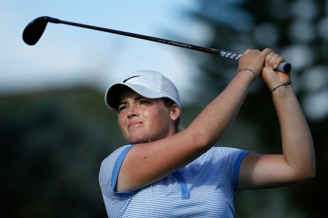 Katie Burnett plays a tee shot on the 16th hole during the third round of the LPGA LOTTE Championship in Kapolei, Hawaii