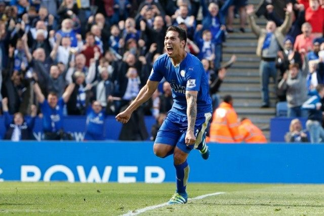 Leicester City's striker Leonardo Ulloa celebrates after scoring their second goal from the penalty spot on April 17, 2016