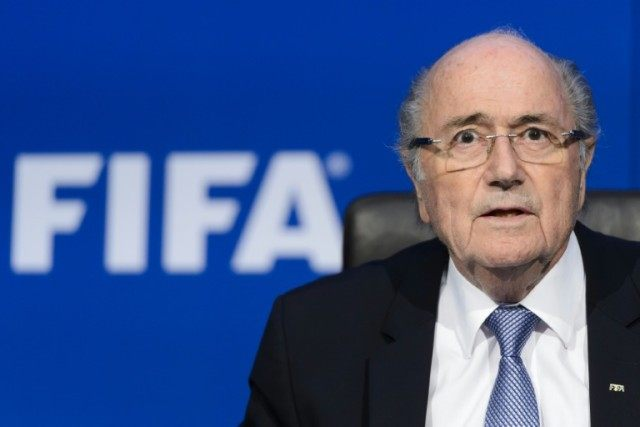 Then FIFA president Sepp Blatter speaks during a press conference at headquarters on July 20, 2015 in Zurich