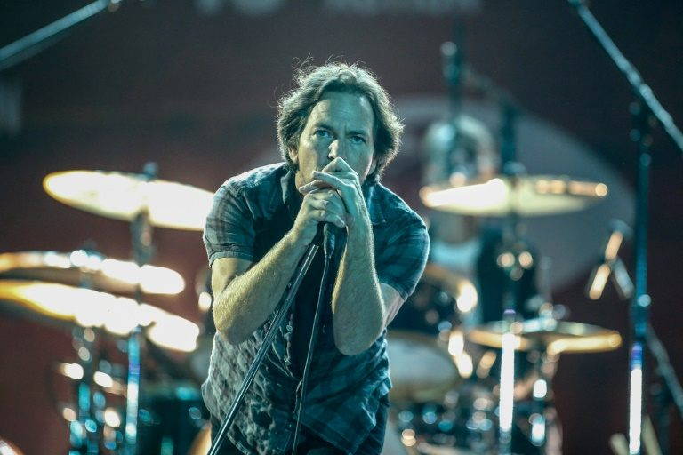 Eddie Vedder from Pearl Jam performs during the fourth annual Global Citizen Festival in Central Park Manhattan on September 26, 2015 in New York