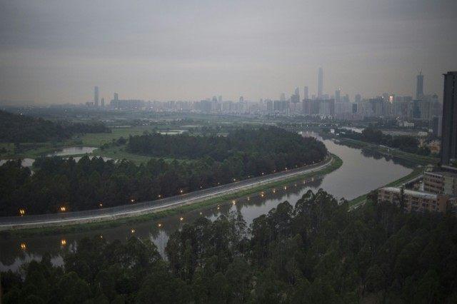 Sheung Yue river flows along Hong Kong's border with mainland China