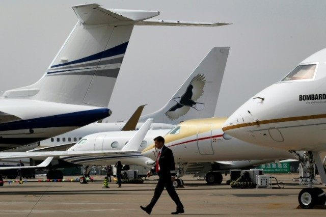 Business jets on the tarmac at Shanghai's Hongqiao airport on April 11, 2016