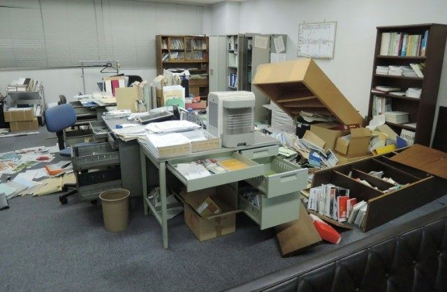This picture shows an office following an earthquake in Kumamoto city on April 14, 2016