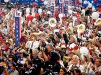 The Texas delegation cheers as Republican presidential candidate George W Bush excepts the nomination at the Republican National Convention..
