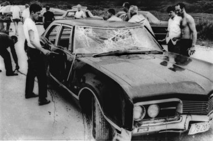 This July 19, 1969 file photo shows the wreckage of U.S. Sen. Edward Kennedy's car after being pulled from the water next to the Dike Bridge on Chappaquiddick Island in Edgartown, Mass., on Martha's Vineyard. A new feature film is in the works about the tragedy on the small Massachusetts …