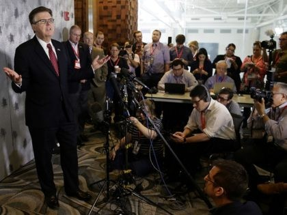 Texas Lt. Gov. Dan Patrick speaks during a news conference at the Texas Republican Convention Friday, May 13, 2016, in Dallas. Texas is signaling the state it will challenge an Obama administrative directive over bathroom access for transgender students in public schools. (AP Photo/LM Otero)